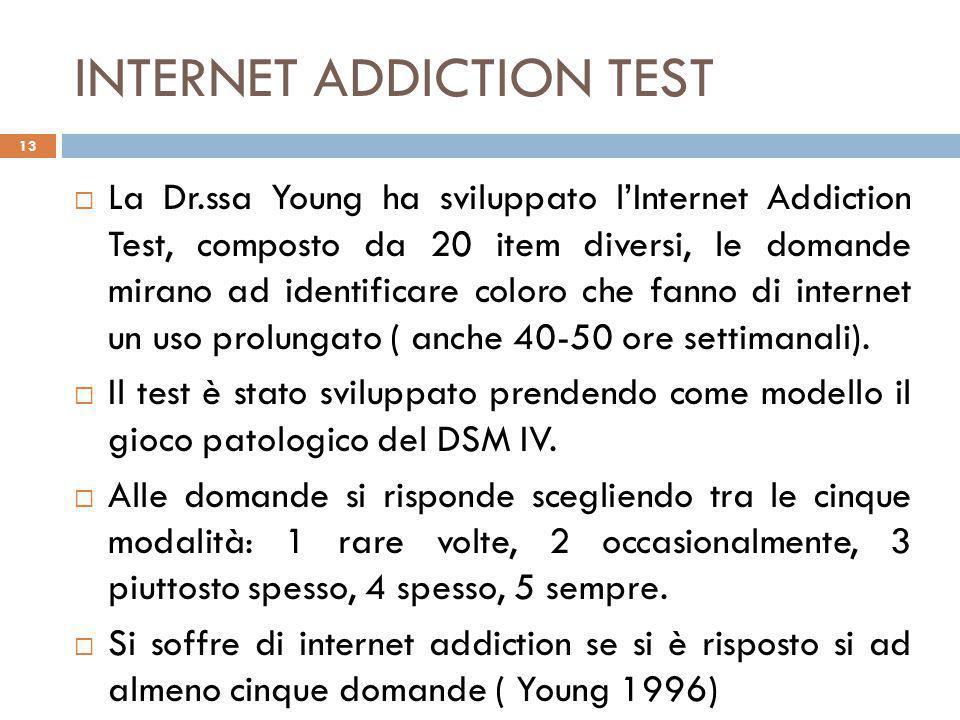 INTERNET ADDICTION TEST  La Dr.ssa Young ha sviluppato l'Internet Addiction Test, composto da 20 item diversi, le domande mirano ad identificare coloro che fanno di internet un uso prolungato ( anche 40-50 ore settimanali).