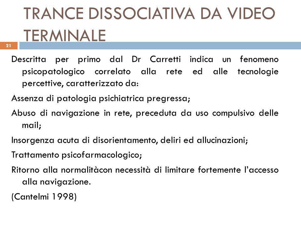 TRANCE DISSOCIATIVA DA VIDEO TERMINALE Descritta per primo dal Dr Carretti indica un fenomeno psicopatologico correlato alla rete ed alle tecnologie p