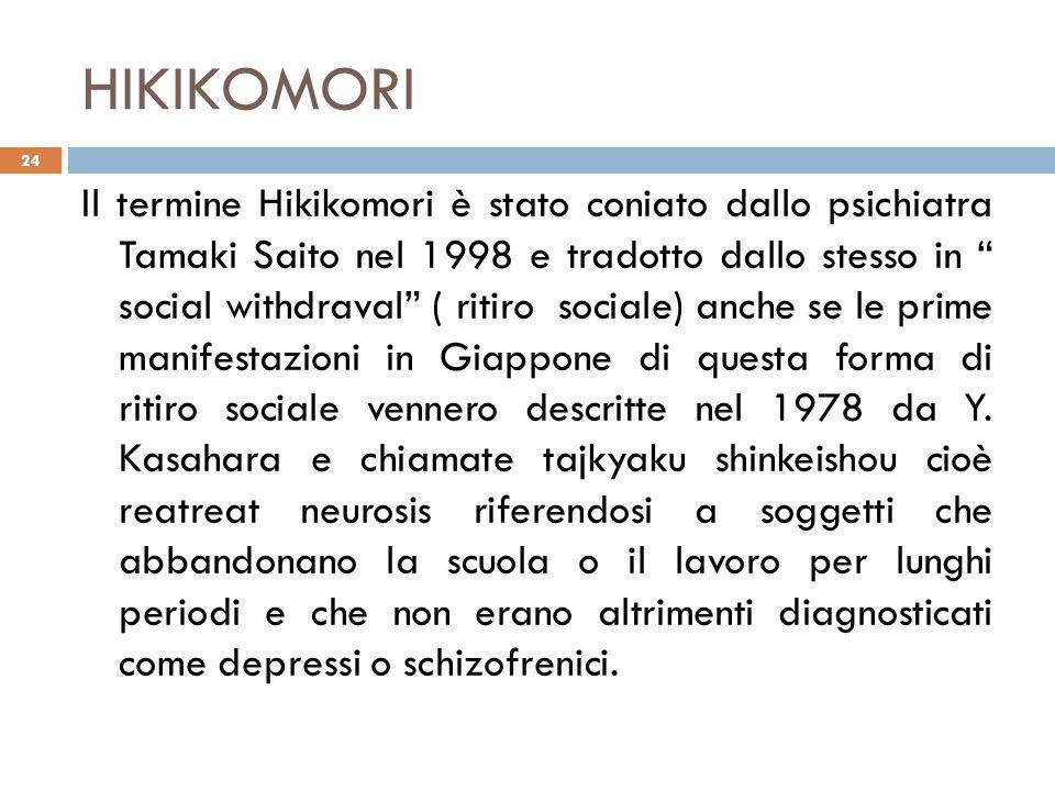 HIKIKOMORI Il termine Hikikomori è stato coniato dallo psichiatra Tamaki Saito nel 1998 e tradotto dallo stesso in social withdraval ( ritiro sociale) anche se le prime manifestazioni in Giappone di questa forma di ritiro sociale vennero descritte nel 1978 da Y.