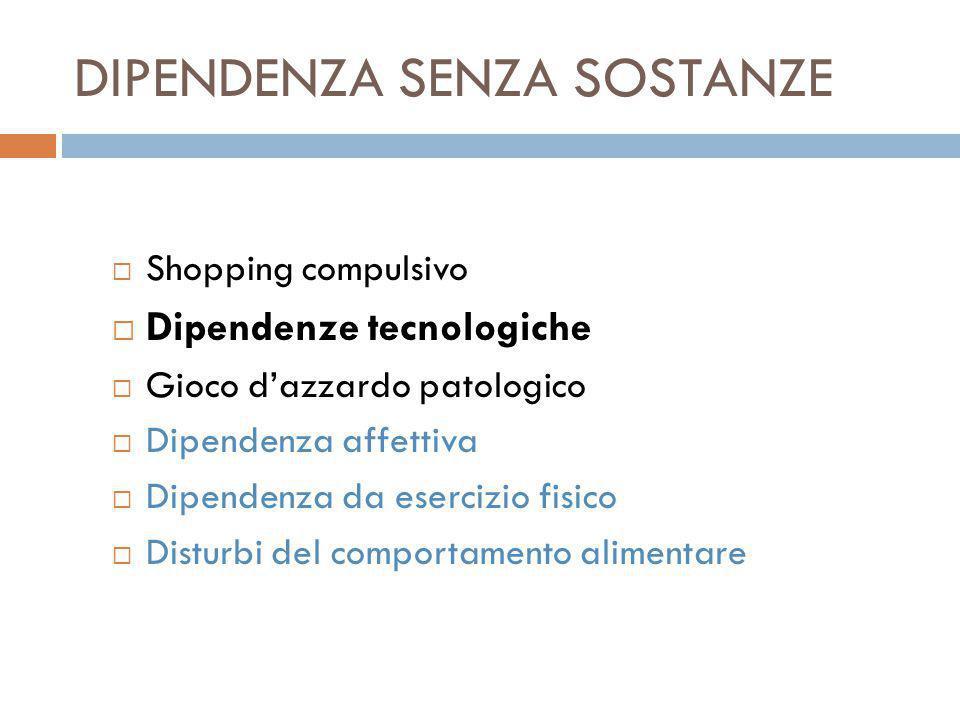 DIPENDENZA SENZA SOSTANZE  Shopping compulsivo  Dipendenze tecnologiche  Gioco d'azzardo patologico  Dipendenza affettiva  Dipendenza da esercizio fisico  Disturbi del comportamento alimentare