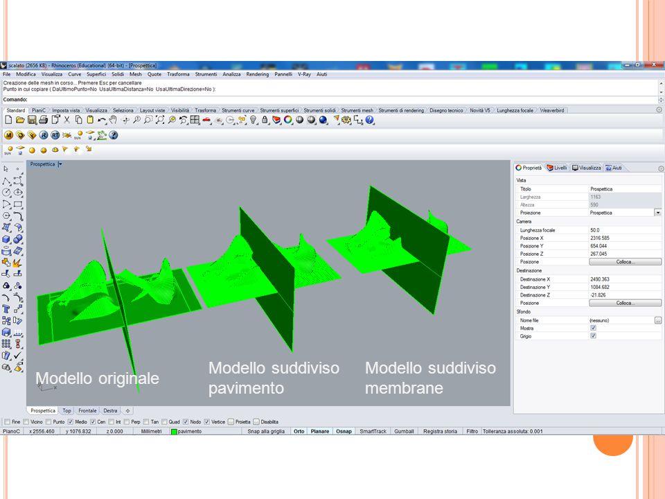 Modello suddiviso membrane Modello originale Modello suddiviso pavimento