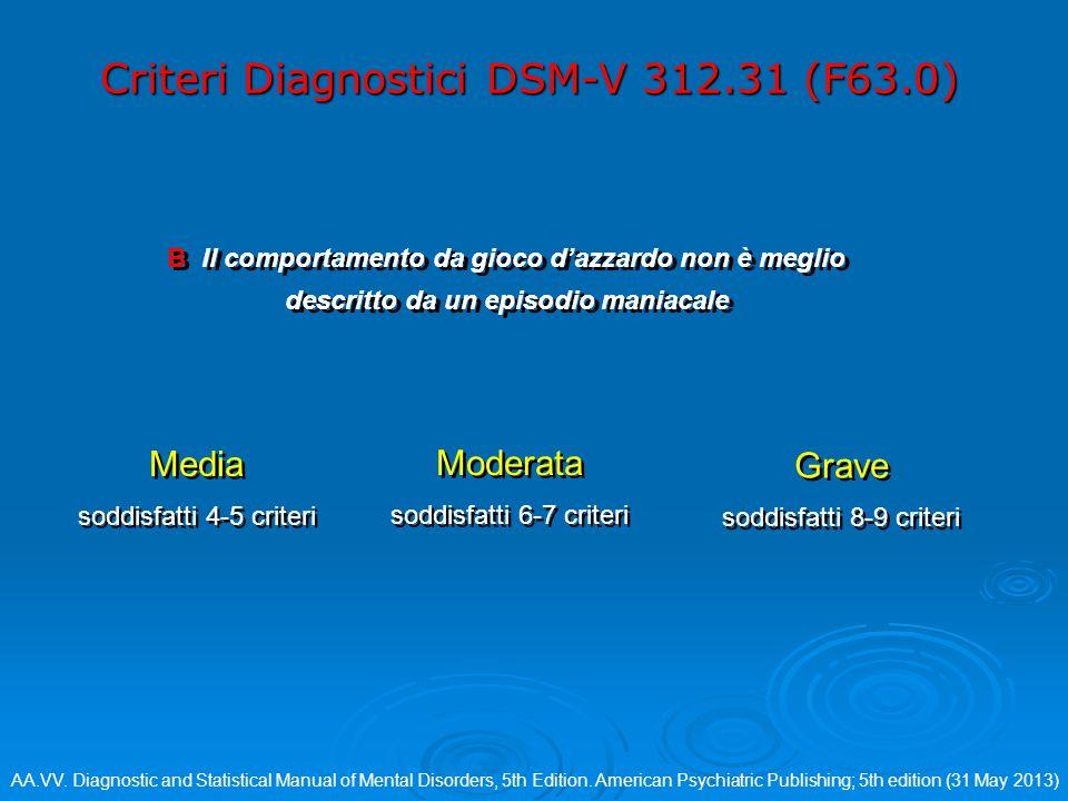 Criteri Diagnostici DSM-V 312.31 (F63.0) B Il comportamento da gioco d'azzardo non è meglio descritto da un episodio maniacale Grave soddisfatti 8-9 criteri Grave soddisfatti 8-9 criteri Media soddisfatti 4-5 criteri Media soddisfatti 4-5 criteri Moderata soddisfatti 6-7 criteri Moderata soddisfatti 6-7 criteri AA.VV.