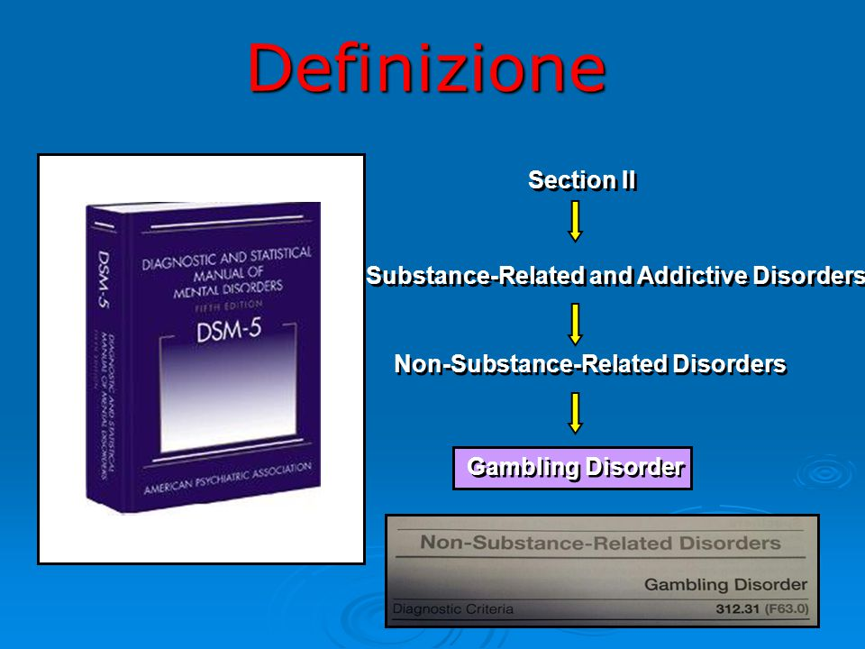 Definizione Section II Substance-Related and Addictive Disorders Non-Substance-Related Disorders Gambling Disorder