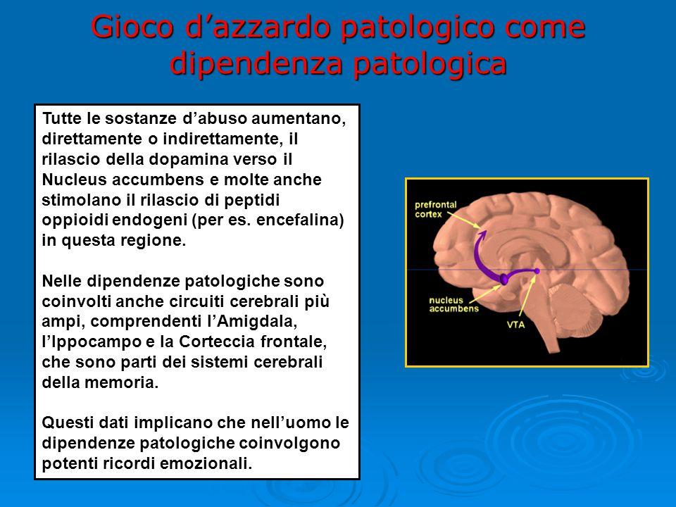 Tutte le sostanze d'abuso aumentano, direttamente o indirettamente, il rilascio della dopamina verso il Nucleus accumbens e molte anche stimolano il rilascio di peptidi oppioidi endogeni (per es.