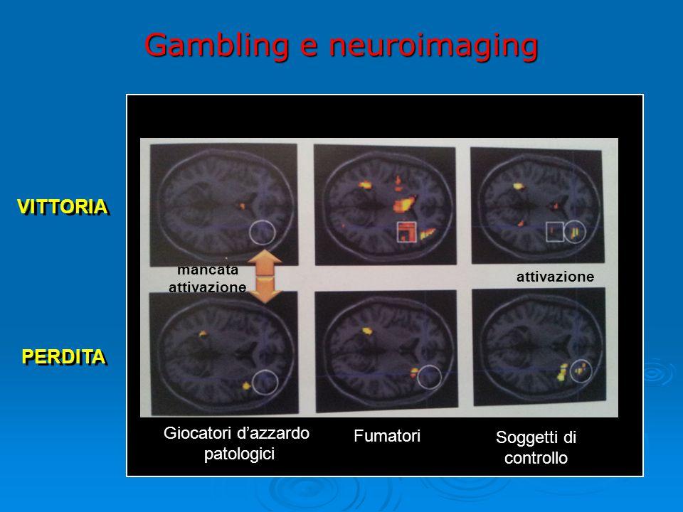 Giocatori d'azzardo patologici Fumatori Soggetti di controllo VITTORIA PERDITA Gambling e neuroimaging mancata attivazione