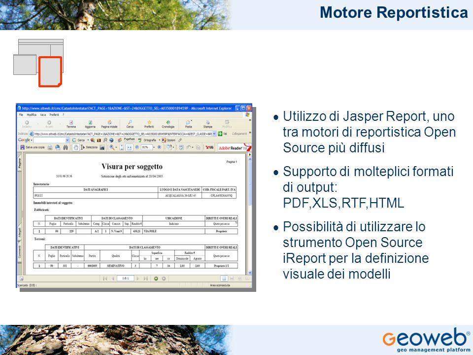 TITOLO PRESENTAZIONE Motore Reportistica  Utilizzo di Jasper Report, uno tra motori di reportistica Open Source più diffusi  Supporto di molteplici formati di output: PDF,XLS,RTF,HTML  Possibilità di utilizzare lo strumento Open Source iReport per la definizione visuale dei modelli