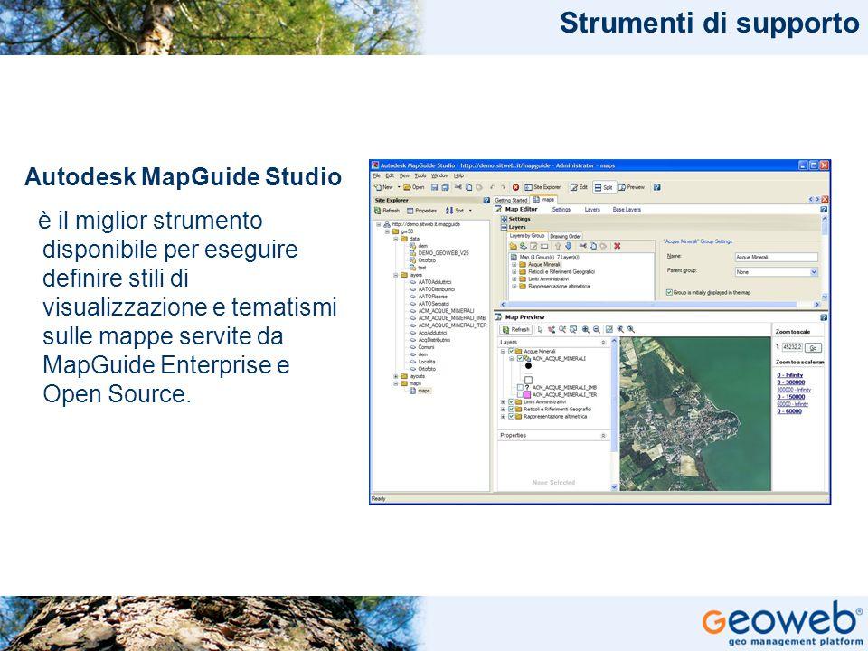 TITOLO PRESENTAZIONE Strumenti di supporto Autodesk MapGuide Studio è il miglior strumento disponibile per eseguire definire stili di visualizzazione e tematismi sulle mappe servite da MapGuide Enterprise e Open Source.