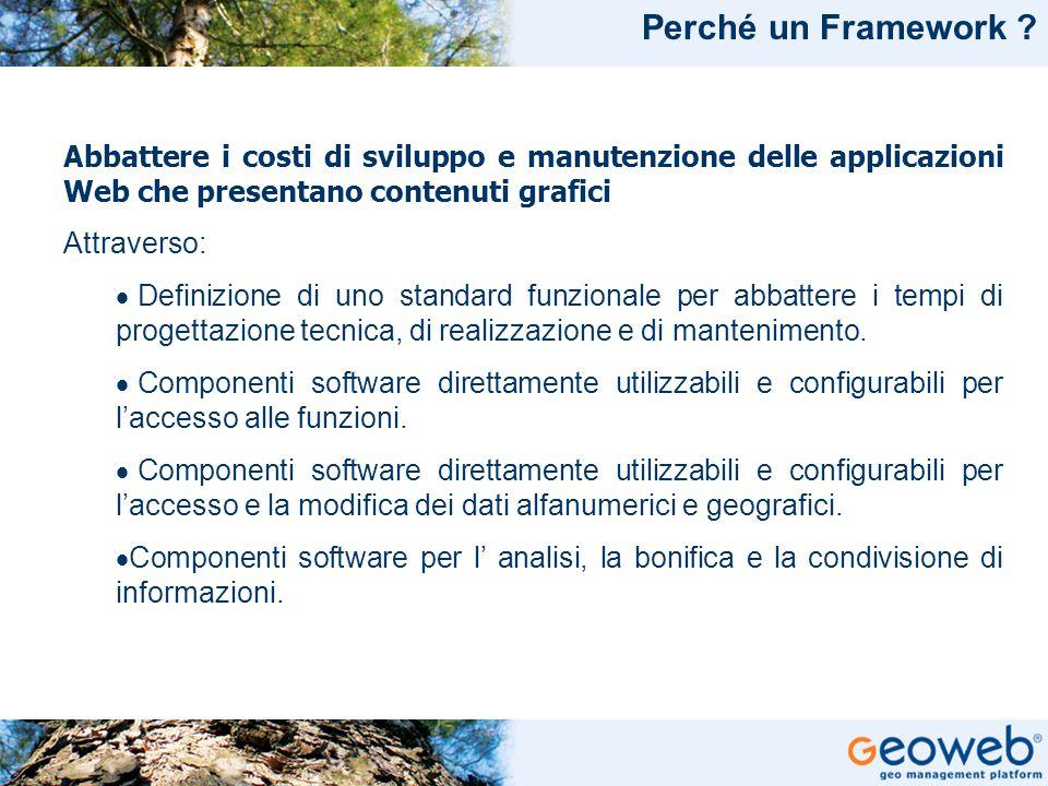 TITOLO PRESENTAZIONE Perché un Framework ? Abbattere i costi di sviluppo e manutenzione delle applicazioni Web che presentano contenuti grafici Attrav