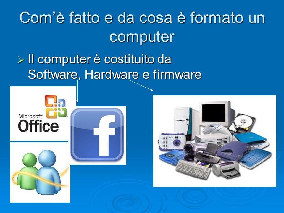 Com'è fatto e da cosa è formato un computer  Il computer è costituito da Software, Hardware e firmware
