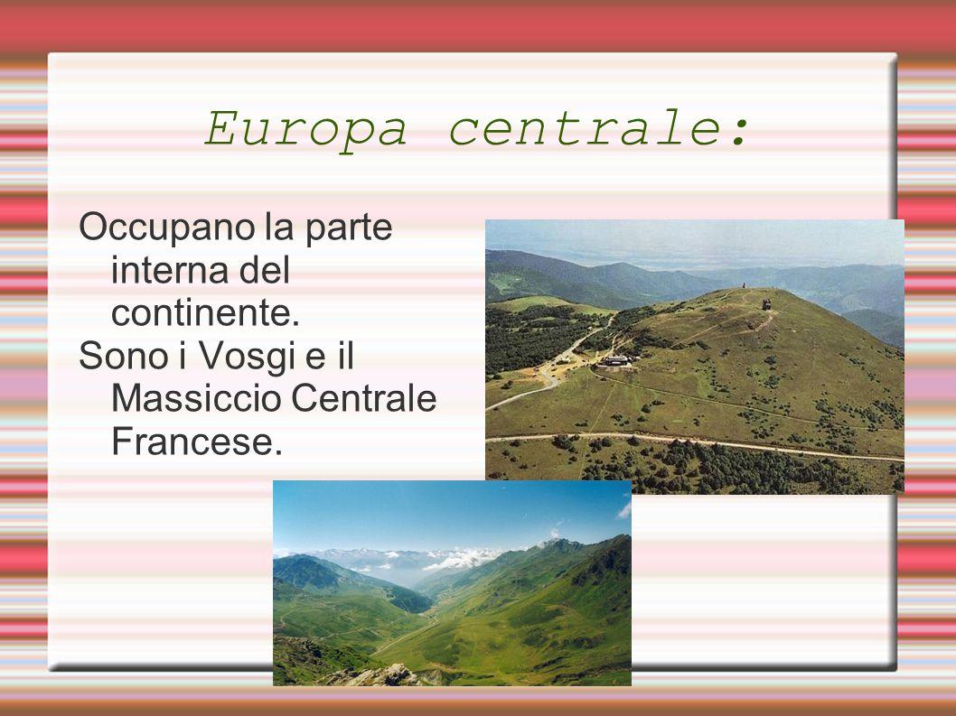 Europa centrale: Occupano la parte interna del continente. Sono i Vosgi e il Massiccio Centrale Francese.