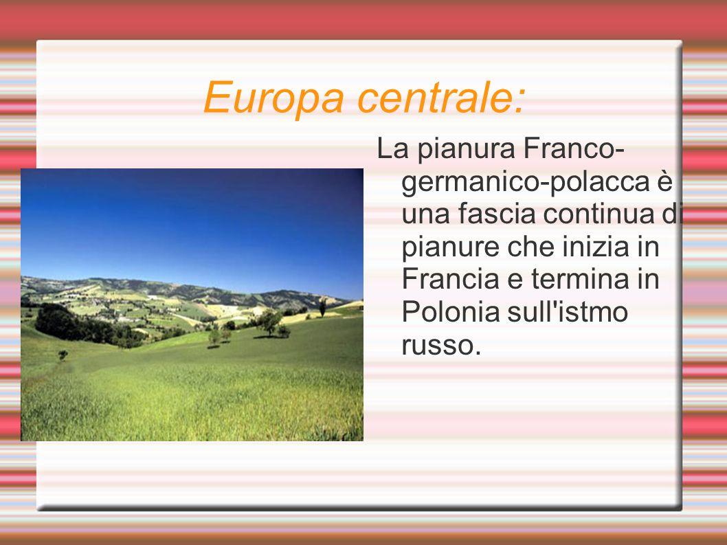Europa centrale: La pianura Franco- germanico-polacca è una fascia continua di pianure che inizia in Francia e termina in Polonia sull'istmo russo.