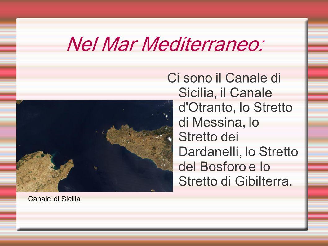 Nel Mar Mediterraneo: Ci sono il Canale di Sicilia, il Canale d'Otranto, lo Stretto di Messina, lo Stretto dei Dardanelli, lo Stretto del Bosforo e lo