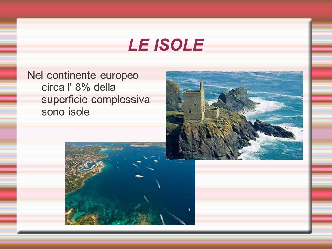 LE ISOLE Nel continente europeo circa l' 8% della superficie complessiva sono isole