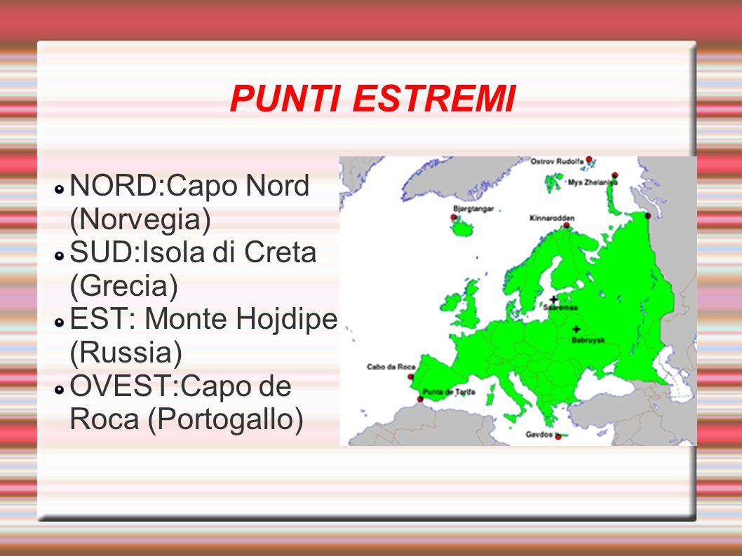 PUNTI ESTREMI NORD:Capo Nord (Norvegia) SUD:Isola di Creta (Grecia) EST: Monte Hojdipe (Russia) OVEST:Capo de Roca (Portogallo)