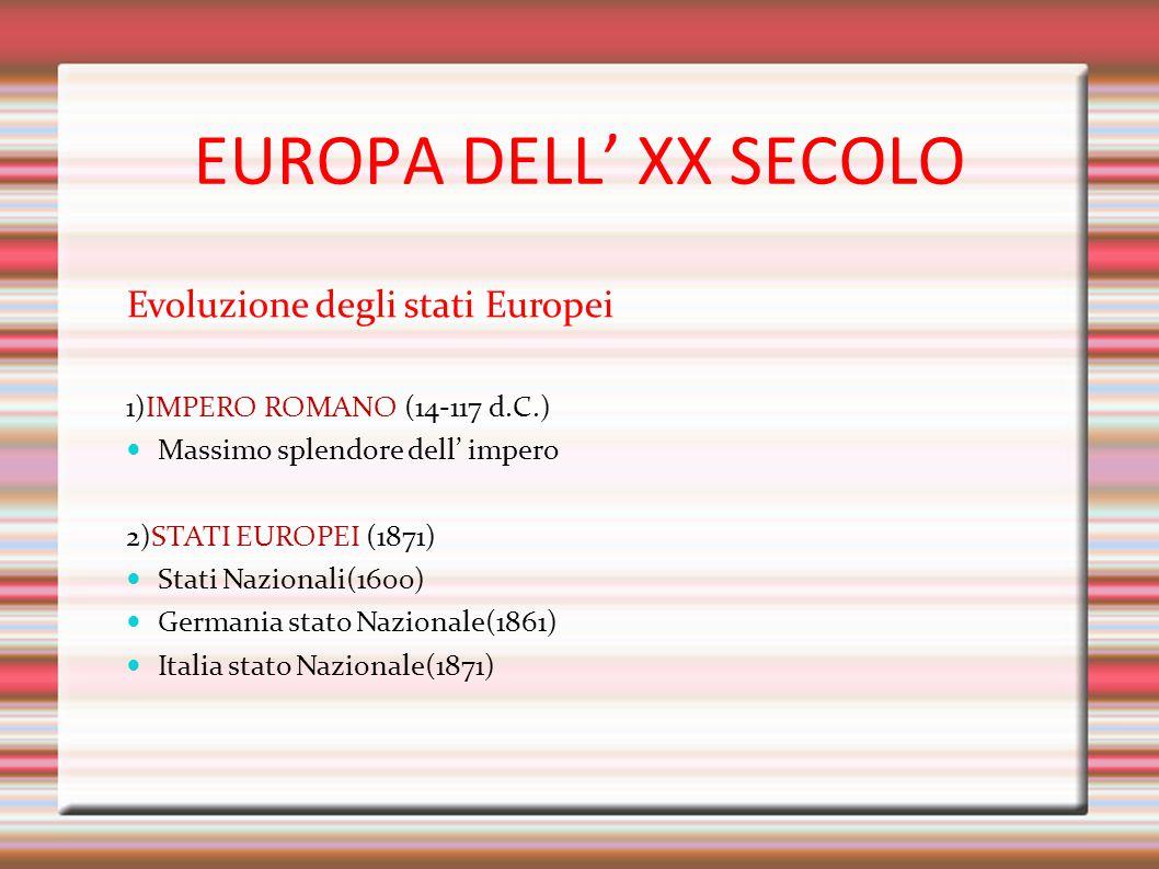 EUROPA DELL' XX SECOLO Evoluzione degli stati Europei 1)IMPERO ROMANO (14-117 d.C.) Massimo splendore dell' impero 2)STATI EUROPEI (1871) Stati Nazion