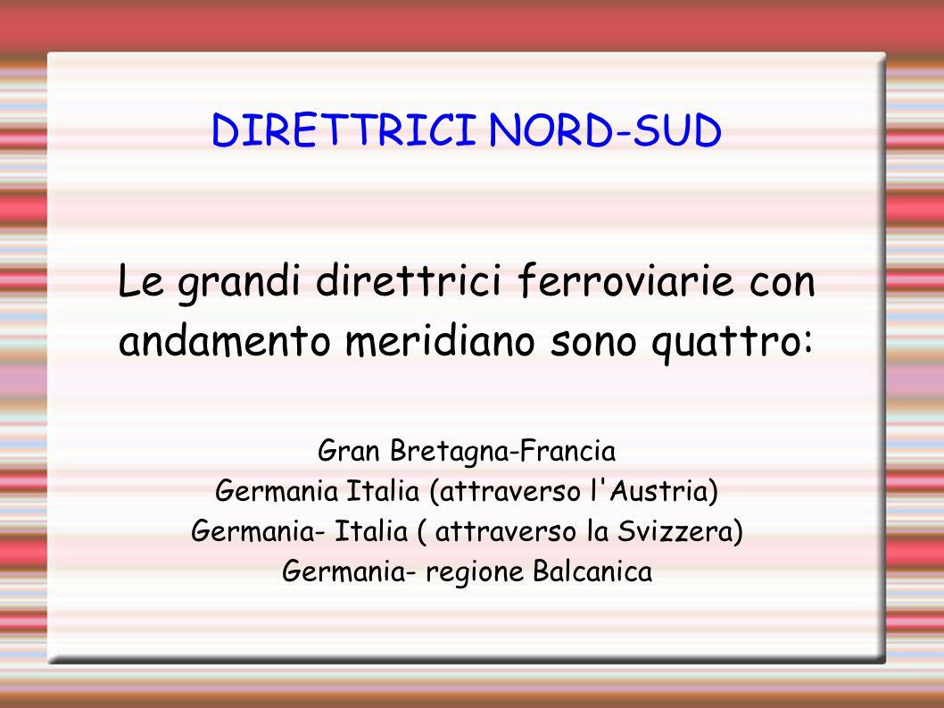 DIRETTRICI NORD-SUD Le grandi direttrici ferroviarie con andamento meridiano sono quattro: Gran Bretagna-Francia Germania Italia (attraverso l'Austria