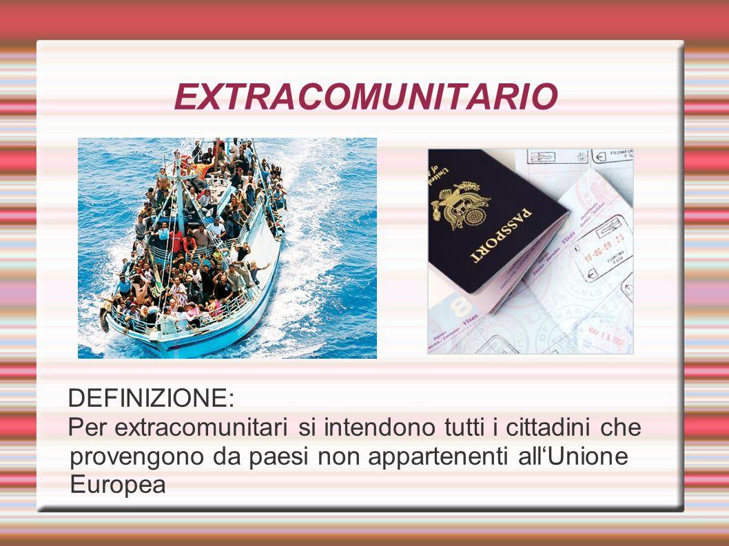 EXTRACOMUNITARIO DEFINIZIONE: Per extracomunitari si intendono tutti i cittadini che provengono da paesi non appartenenti all'Unione Europea ➲Per extr