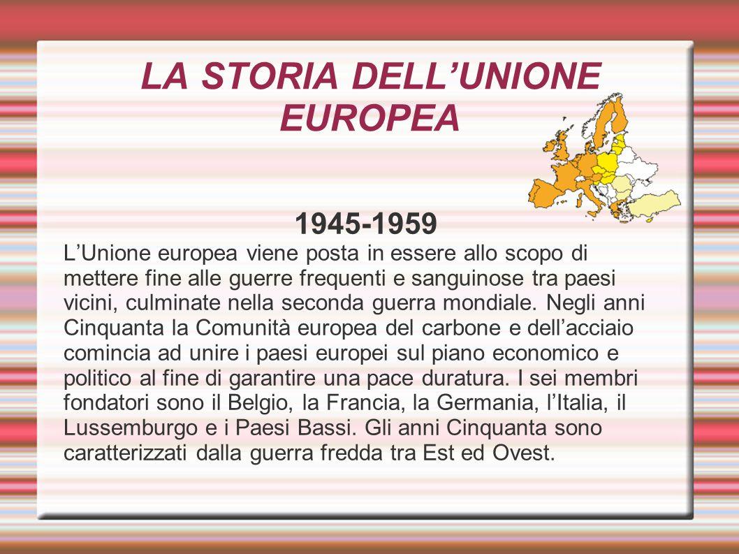 LA STORIA DELL'UNIONE EUROPEA 1945-1959 L'Unione europea viene posta in essere allo scopo di mettere fine alle guerre frequenti e sanguinose tra paesi