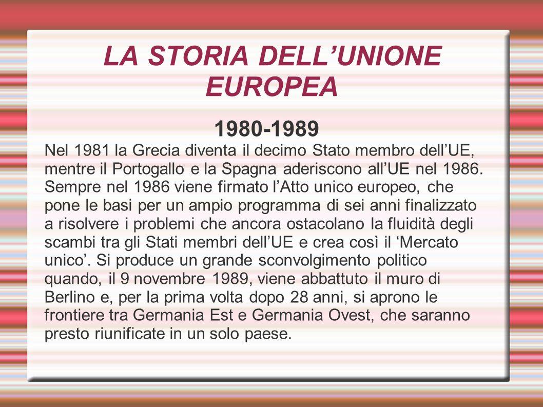 LA STORIA DELL'UNIONE EUROPEA 1980-1989 Nel 1981 la Grecia diventa il decimo Stato membro dell'UE, mentre il Portogallo e la Spagna aderiscono all'UE