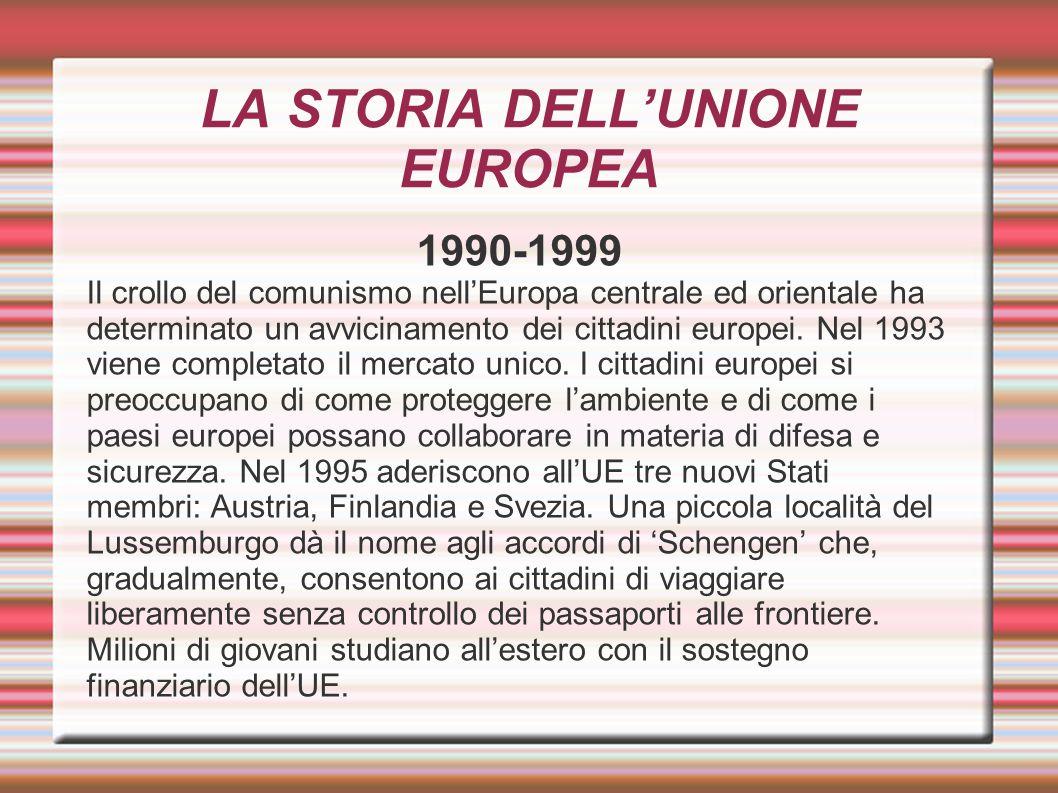 LA STORIA DELL'UNIONE EUROPEA 1990-1999 Il crollo del comunismo nell'Europa centrale ed orientale ha determinato un avvicinamento dei cittadini europe