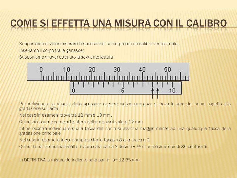 Supponiamo di voler misurare lo spessore di un corpo con un calibro ventesimale. Inseriamo il corpo tra le ganasce; Supponiamo di aver ottenuto la seg