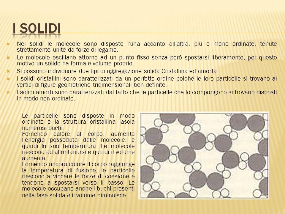  Nei solidi le molecole sono disposte l una accanto all altra, più o meno ordinate, tenute strettamente unite da forze di legame.