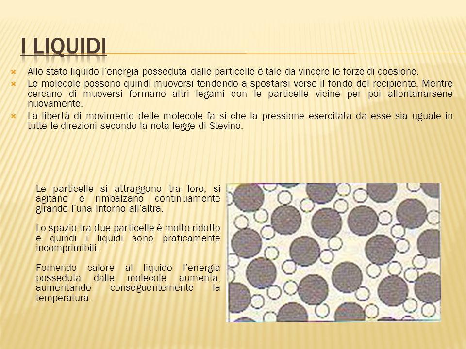  Allo stato liquido l'energia posseduta dalle particelle è tale da vincere le forze di coesione.