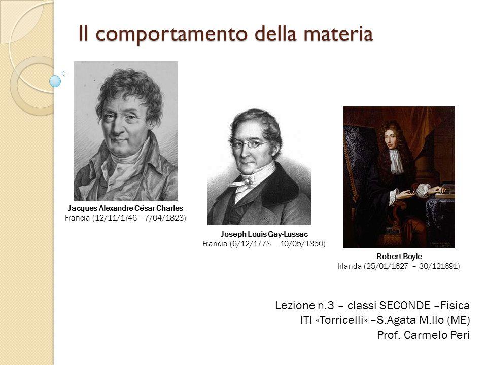 Il comportamento della materia Lezione n.3 – classi SECONDE –Fisica ITI «Torricelli» –S.Agata M.llo (ME) Prof. Carmelo Peri Jacques Alexandre César Ch