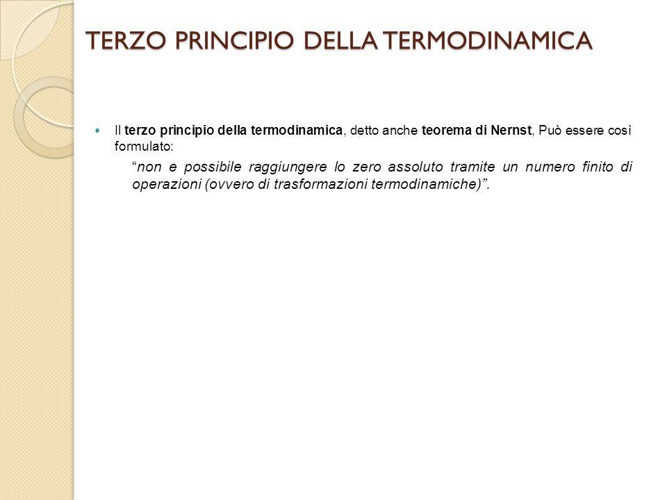 """TERZO PRINCIPIO DELLA TERMODINAMICA Il terzo principio della termodinamica, detto anche teorema di Nernst, Può essere così formulato: """"non e possibile"""