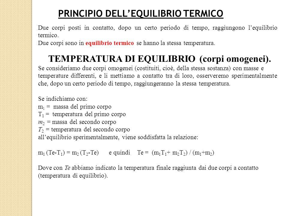 RELAZIONE FONDAMENTALE DELLA CALORIMETRIA Relazione fondamentale della calorimetria Se consideriamo un corpo di massa m di una certa sostanza posto alla temperatura T 0 e lo mettiamo a contatto con una fonte di calore finchè il corpo non assume una temperatura T, la quantità di calore che il corpo ha assorbito (se T > T 0 ) o ha ceduto (se T < T 0 ) Al variare del calore fornito al corpo è possibile verificare sperimentalmente che la quantità di calore assorbita (o ceduta) dal corpo è direttamente proporzionale alla massa del corpo e alla variazione di temperatura e il coefficiente di proporzionalità prende il nome di calore specifico del corpo, e quindi è possibile verificare che: Q=m·c·  T = m·c· (T –T 0 ) ( relazione fondamentale della calorimetria) Se la temperatura finale è maggiore della temperatura iniziale il corpo ha assorbito calore (Q è positivo) in caso contrario cede calore (Q è negativo).
