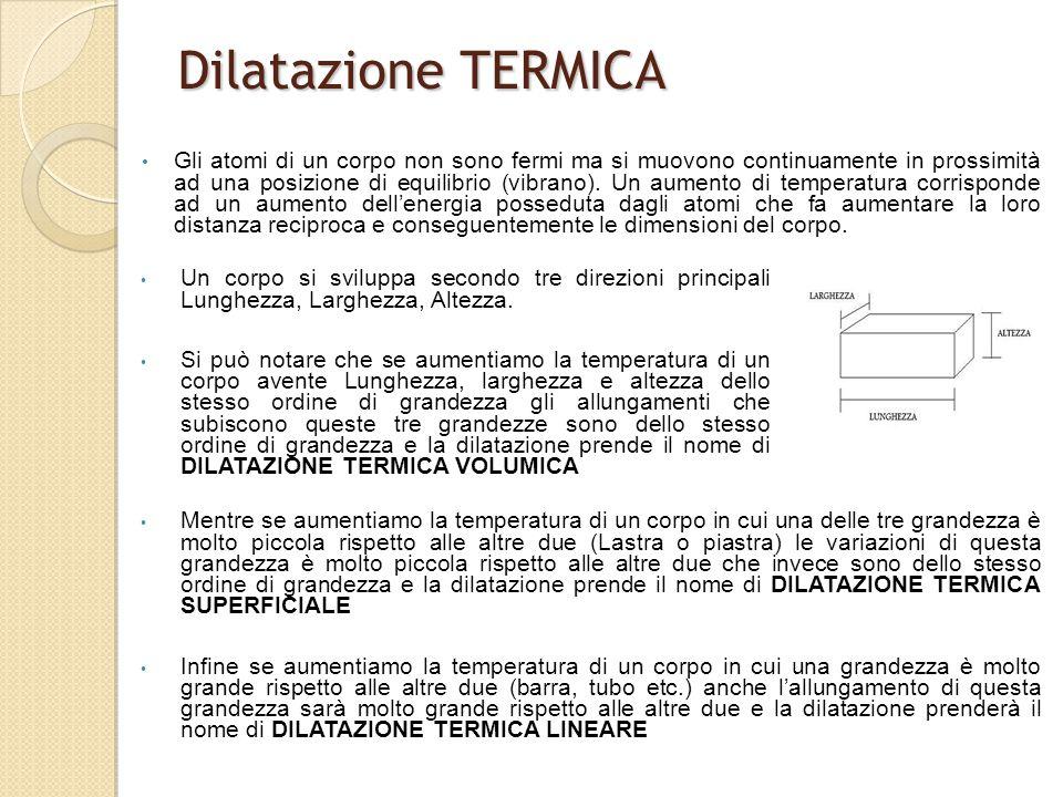 Dilatazione TERMICA (lineare) Esaminiamo un corpo che si sviluppi principalmente lungo Una direzione ad esempio una sbarra o un tubo.
