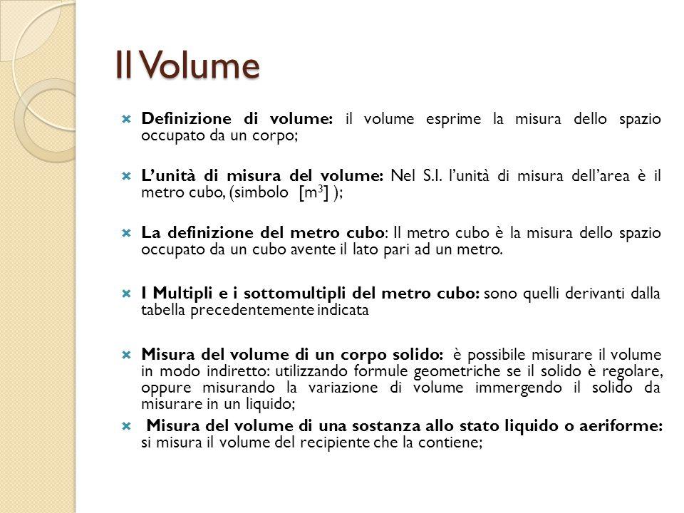 Equivalenza di volumi  A volte è necessario ricondurre la misura fornita sotto forma di multiplo o sottomultiplo all'unita di misura.