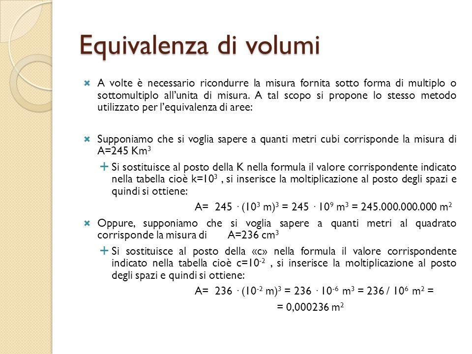 Equivalenza di volumi  A volte è necessario ricondurre la misura fornita sotto forma di multiplo o sottomultiplo all'unita di misura. A tal scopo si
