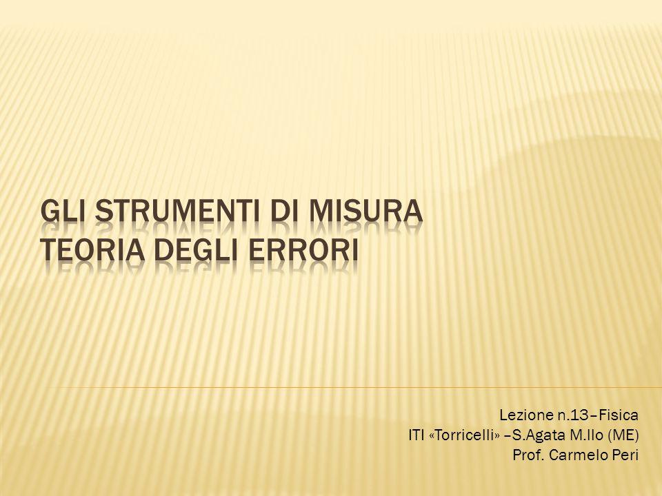 Lezione n.13–Fisica ITI «Torricelli» –S.Agata M.llo (ME) Prof. Carmelo Peri