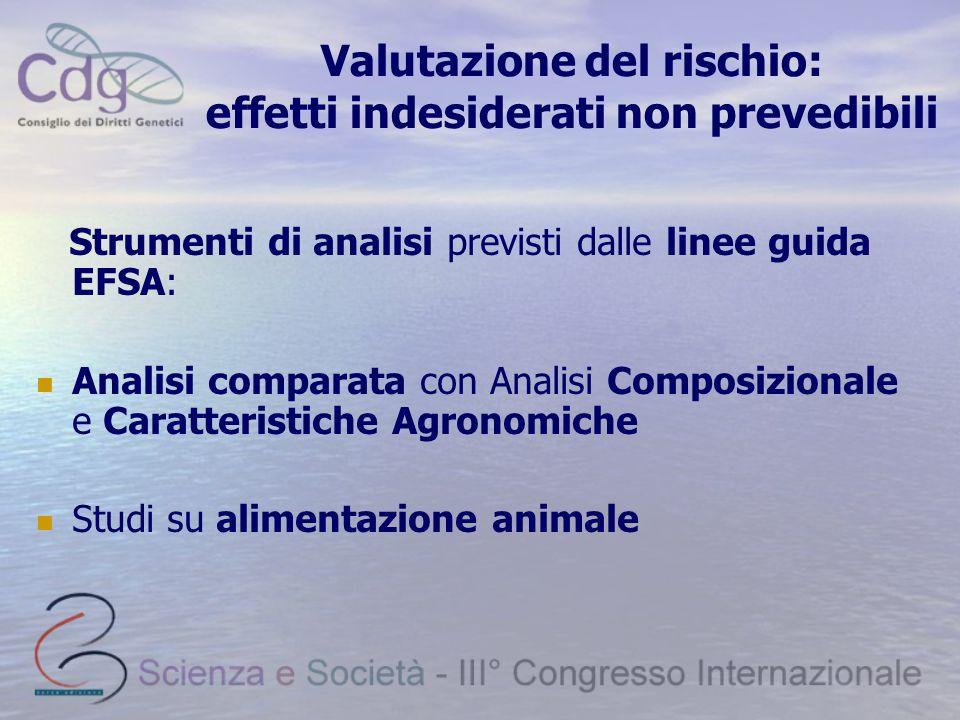 Valutazione del rischio: effetti indesiderati non prevedibili Strumenti di analisi previsti dalle linee guida EFSA: Analisi comparata con Analisi Composizionale e Caratteristiche Agronomiche Studi su alimentazione animale