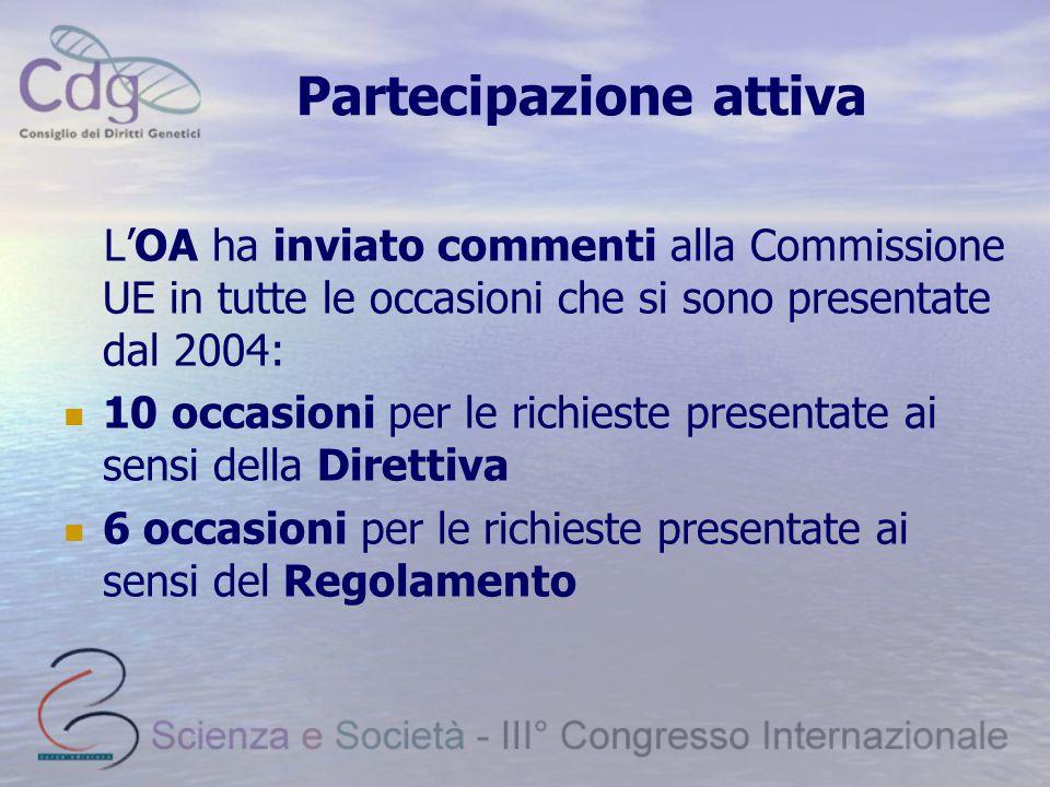 Partecipazione attiva L'OA ha inviato commenti alla Commissione UE in tutte le occasioni che si sono presentate dal 2004: 10 occasioni per le richiest