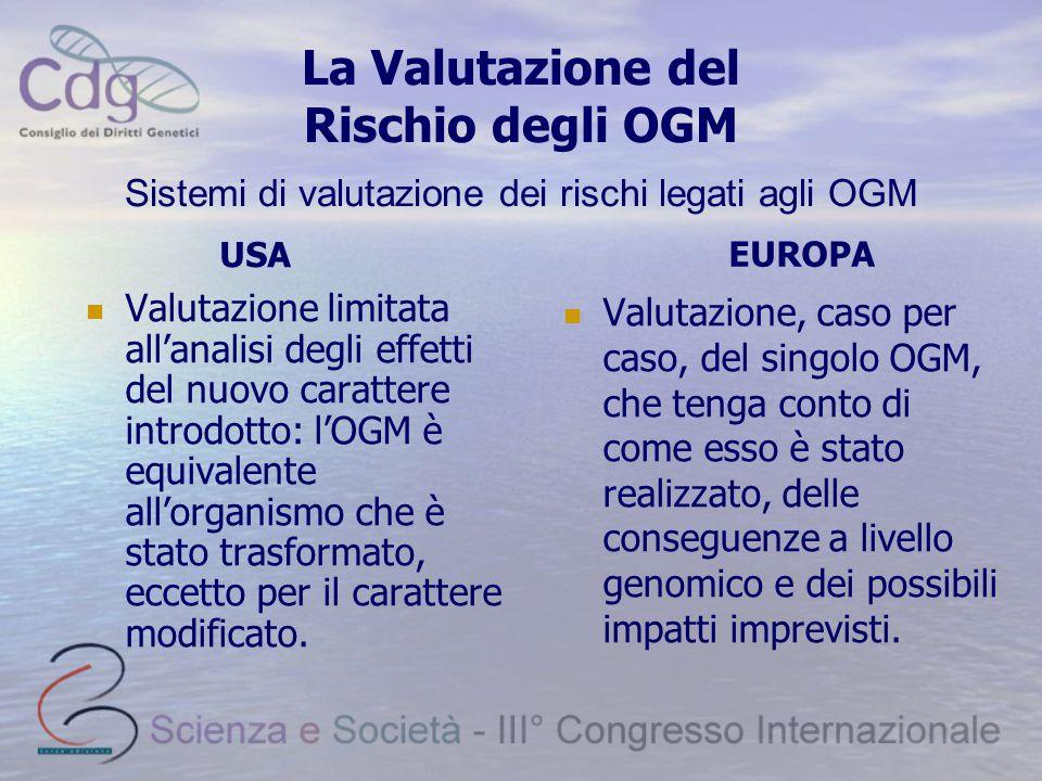 La Valutazione del Rischio degli OGM Valutazione limitata all'analisi degli effetti del nuovo carattere introdotto: l'OGM è equivalente all'organismo
