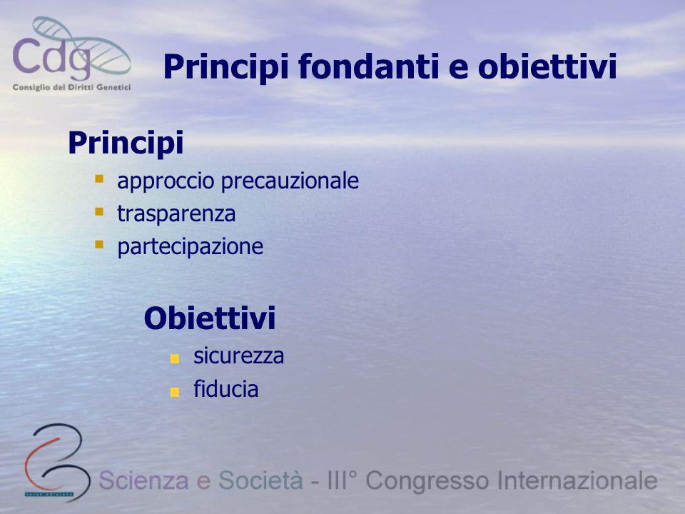 Principi fondanti e obiettivi Principi  approccio precauzionale  trasparenza  partecipazione Obiettivi sicurezza fiducia