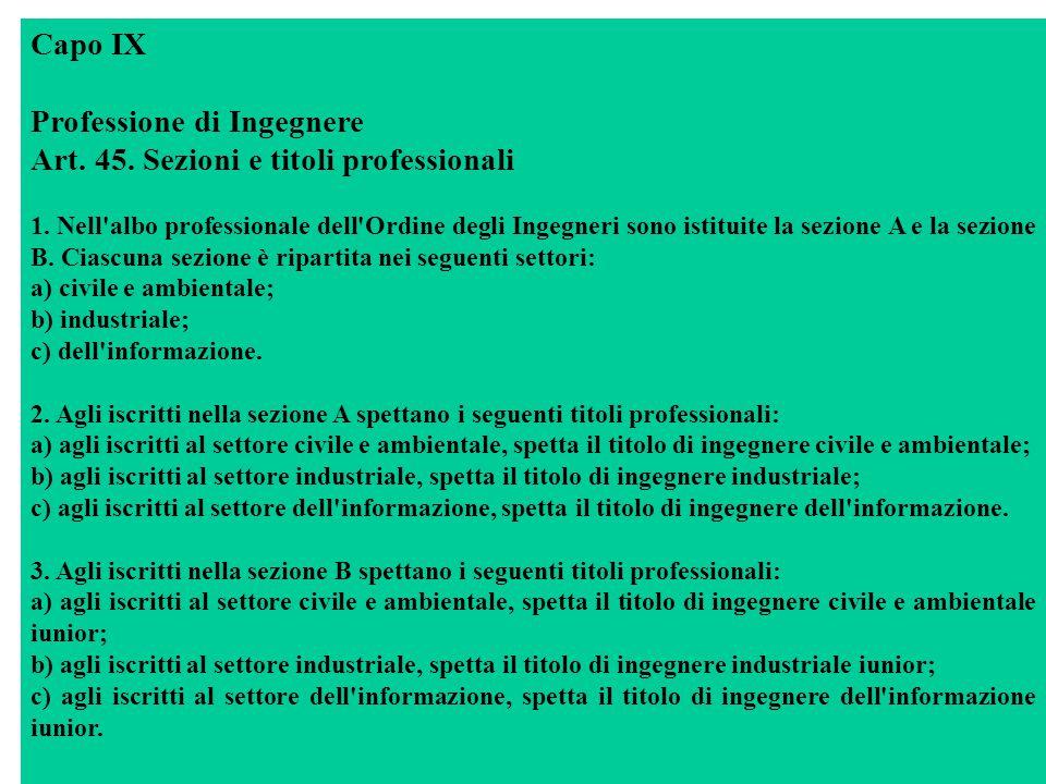 Capo IX Professione di Ingegnere Art. 45. Sezioni e titoli professionali 1.