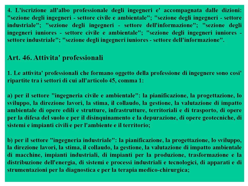 4. L'iscrizione all'albo professionale degli ingegneri e' accompagnata dalle dizioni:
