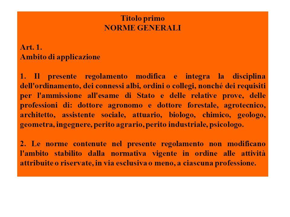 Art.2. Istituzione di sezioni negli albi professionali 1.