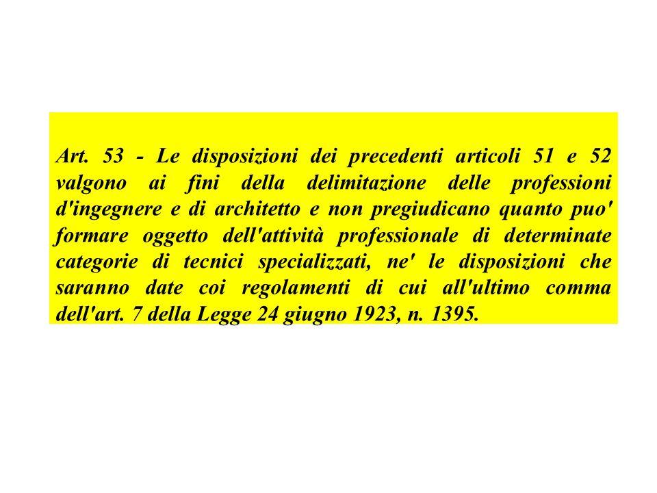 Art. 53 - Le disposizioni dei precedenti articoli 51 e 52 valgono ai fini della delimitazione delle professioni d'ingegnere e di architetto e non preg