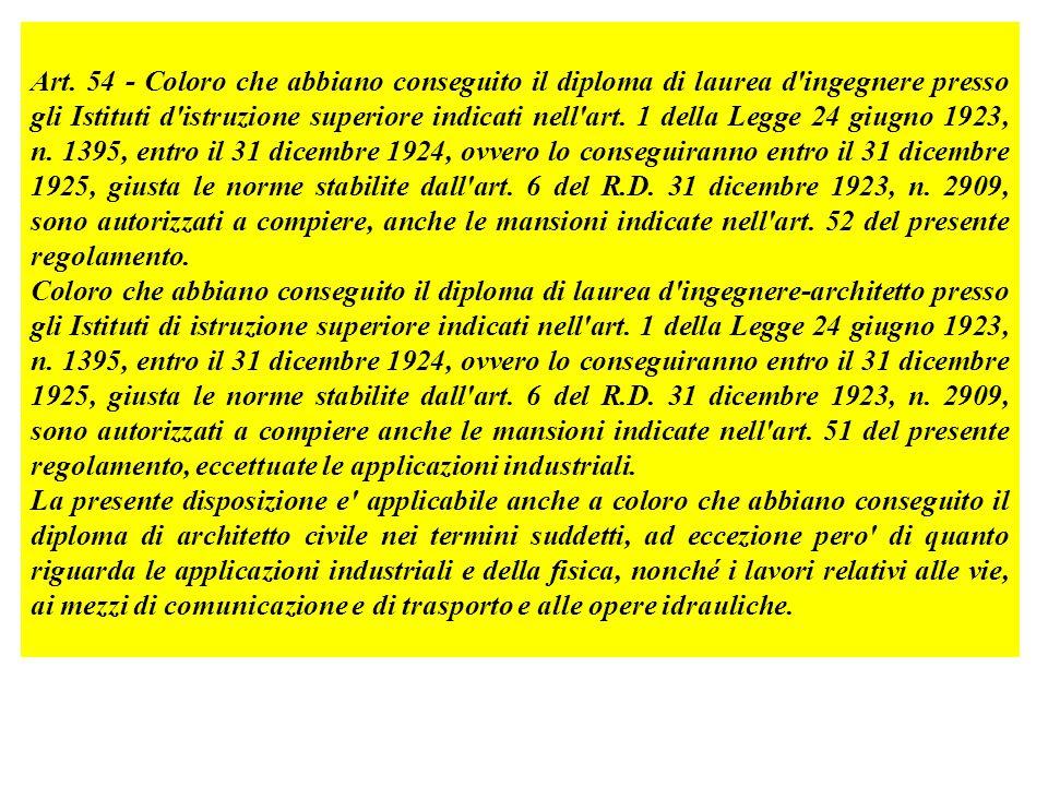 Art. 54 - Coloro che abbiano conseguito il diploma di laurea d'ingegnere presso gli Istituti d'istruzione superiore indicati nell'art. 1 della Legge 2