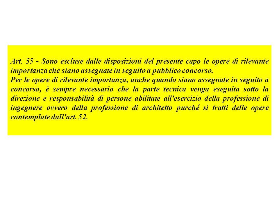 Art. 55 - Sono escluse dalle disposizioni del presente capo le opere di rilevante importanza che siano assegnate in seguito a pubblico concorso. Per l