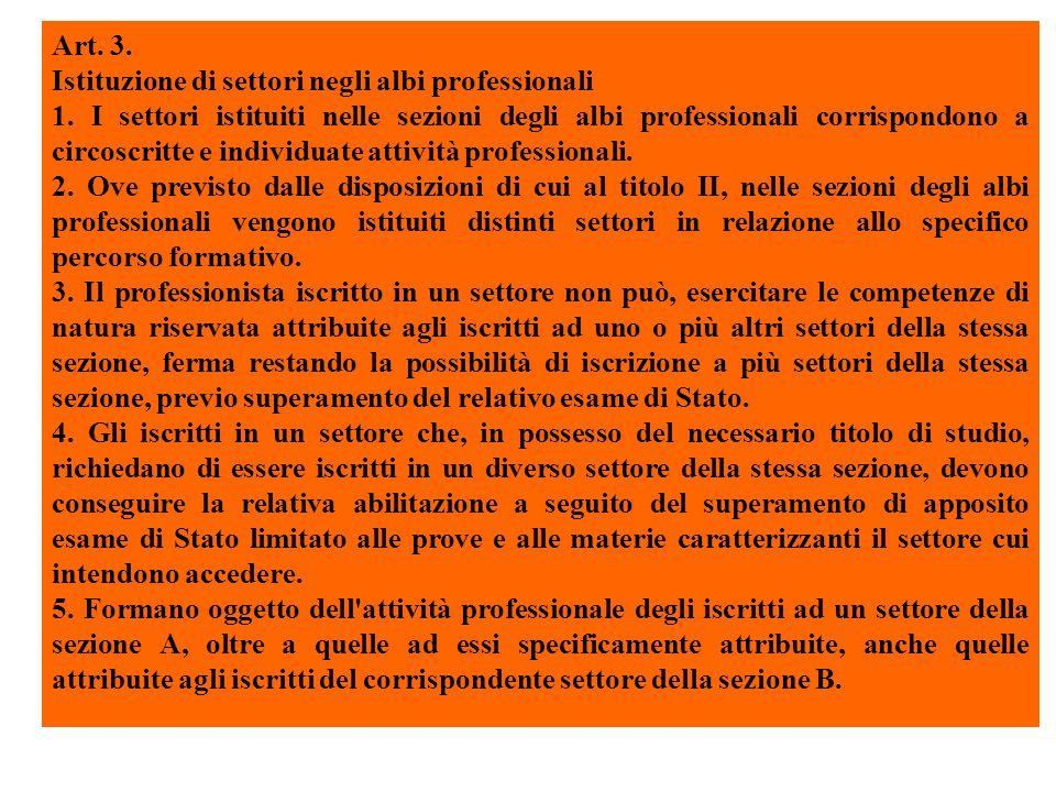 Art. 3. Istituzione di settori negli albi professionali 1.