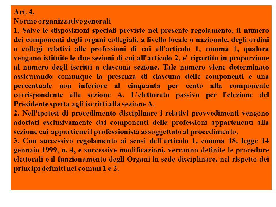 Art. 4. Norme organizzative generali 1.
