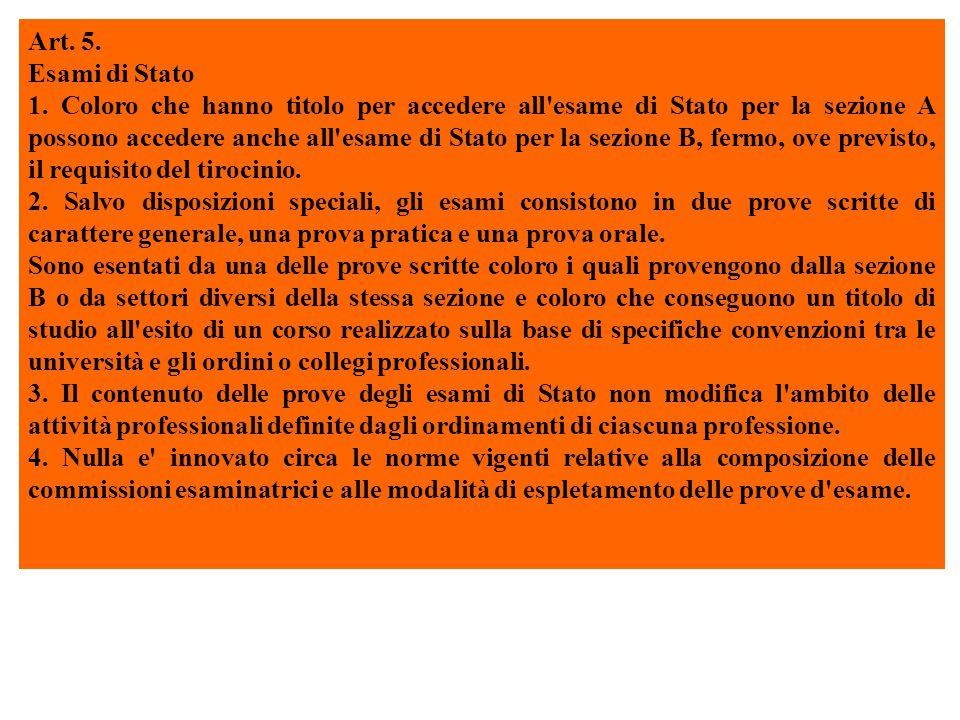 Art. 5. Esami di Stato 1.