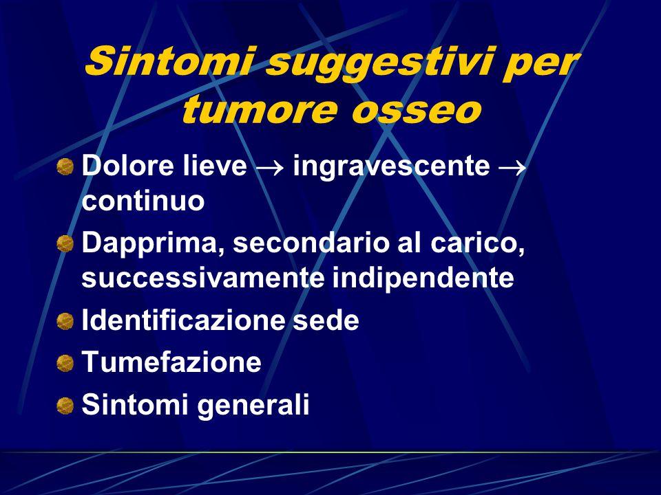 Sintomi suggestivi per tumore osseo Dolore lieve  ingravescente  continuo Dapprima, secondario al carico, successivamente indipendente Identificazio