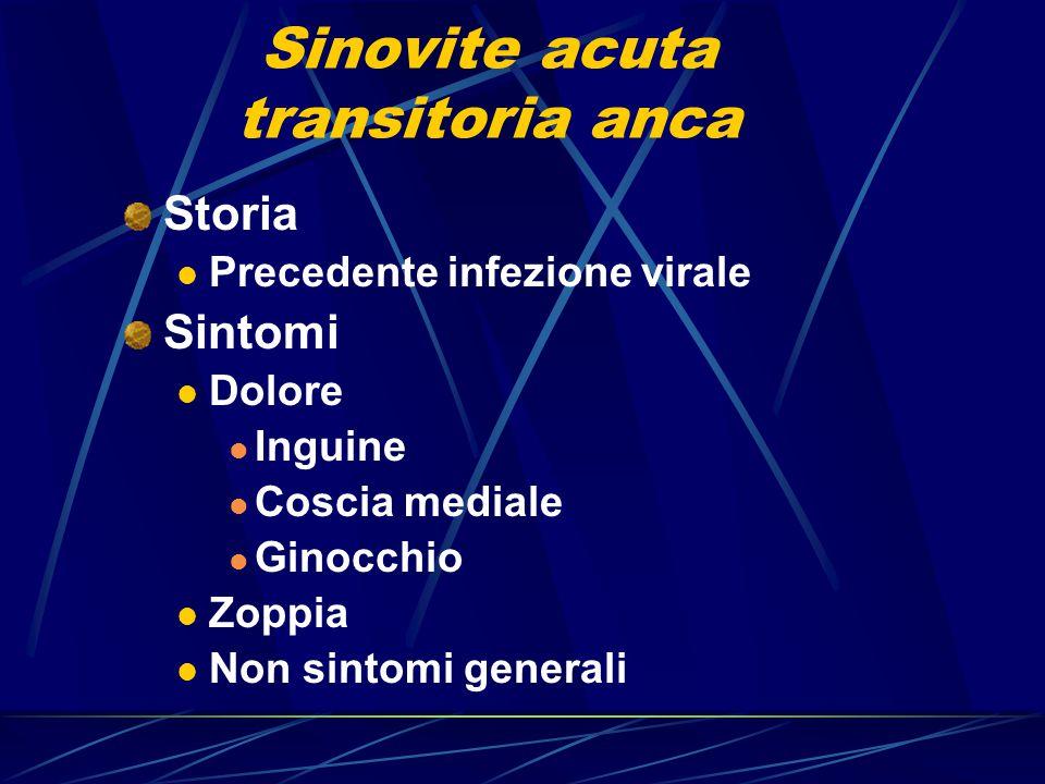 Sinovite acuta transitoria anca Storia Precedente infezione virale Sintomi Dolore Inguine Coscia mediale Ginocchio Zoppia Non sintomi generali