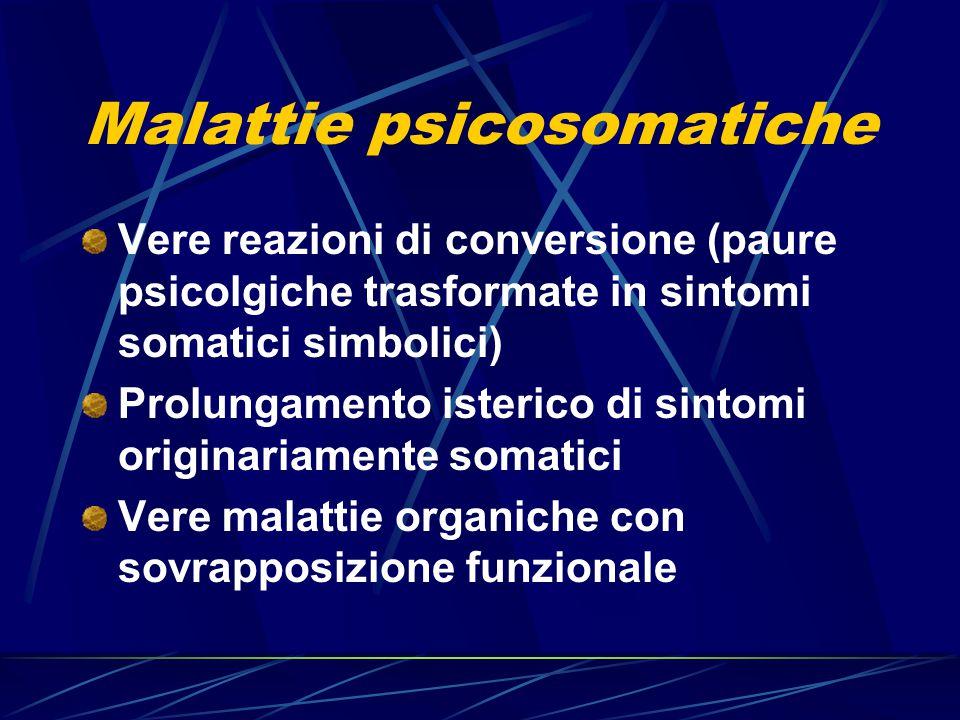 Malattie psicosomatiche Vere reazioni di conversione (paure psicolgiche trasformate in sintomi somatici simbolici) Prolungamento isterico di sintomi o